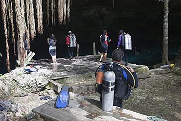Tourists at Dos Ojos Cenote, Playa del Carmen, Yucatan Peninsula, Mexico