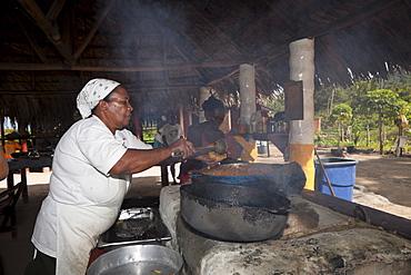 Beach restaurant at Playa Rincon Beach near Las Galeras, Samana Peninsula, Dominican Republic, West Indies, Central America