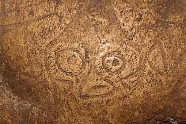 Cemi Rock engravings inside San Gabriel Limestone Cave, Los Haitises National Park, Dominican Republic, West Indies, Central America
