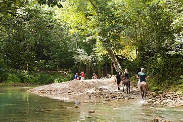 Horseback tour to the Waterfall Cascada El Limon, Las Terrenas, Samana Peninsula, Dominican Republic, West Indies, Central America