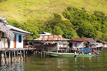 Fishermen's houses at Lake Sentani, Jayapura, West Papua, Indonesia, Southeast Asia, Asia