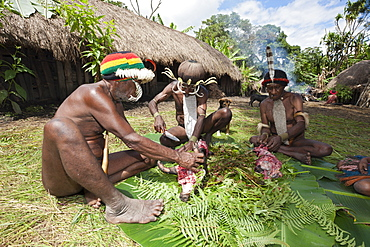 Dani men cutting up cooked pig at Pig Festival, Baliem Valley, West Papua, Indonesia, Southeast Asia, Asia