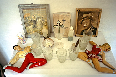 Charms and objects placed on a Santeria altar in a home in the Los Pinos area of Havana, Cuba