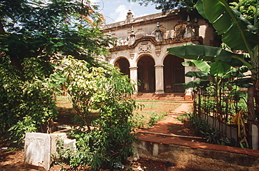 Historic mansions, built in the pre-revolutionary period, now in disrepair or restored as embassies, Havana, Cuba