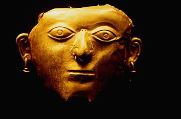 La Tolita Culture, c 500BC to 500AD Gold Ornamental mask, in the collection of the Banco Central de Ecuador in Quito, North Coast, Ecuador