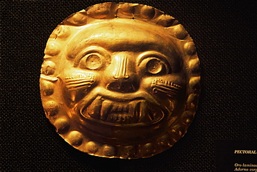 La Tolita Culture, c 500BC to 500AD Gold Ornamental mask, in the collection of the Banco Central de Ecuador in Quito, Ecuador