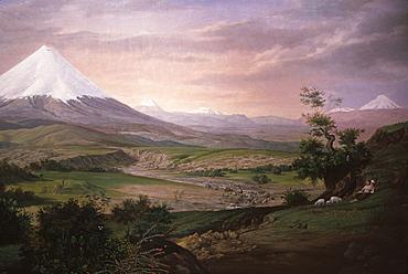 Paisaje' view of the Avenue of the Volcanoes by Rafael Troya Ibarra, from the collection of the Banco Central de Ecuador, Quito, Ecuador