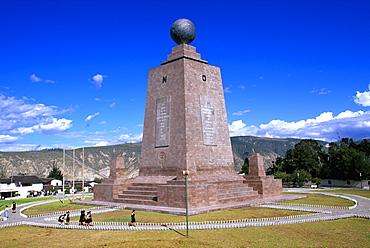 La Mitad del Mundo or Equator Monument, the line at latitude 0, that runs across Ecuador and from which the country gets its name, North of Quito, Highlands, Ecuador
