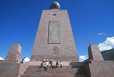 La Mitad del Mundo or Equator Monument, the line at latitude 0, that runs across Ecuador and from which the country gets its name, Quito, Highlands, Ecuador