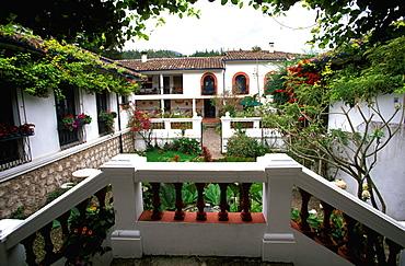Hacienda Cusin, one of the best hosterias in Ecuador, on Laguna San Pablo, near Otavalo originally a hacienda dating from the 1600's, Highlands North of Quito, Ecuador