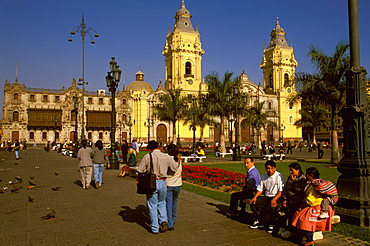 The Cathedral built in 1564-1625, on the Plaza de Armas which contains the tomb of Francisco Pizarro the conqueror of the Incas, Colonial Architecture, Lima, Peru