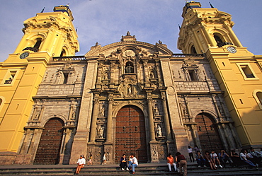 The Cathedral built in 1564-1625, on the Plaza de Armas contains the tomb of Pizarro the conqueror of the Incas, Colonial Architecture, Lima, Peru