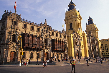 The Archbishop's Palace with beautiful carved wooden balconies next to the Cathedral on the Plaza de Armas, Colonial Architecture, Lima, Peru
