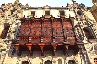 The Archbishop's Palace with beautiful carved wooden balconys next to the Cathedral on the Plaza de Armas, Colonial Architecture, Lima, Peru