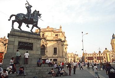 The statue of Francisco Pizarro, the Conqueror of the Incas, on a corner of the Plaza de Armas, Lima, Peru
