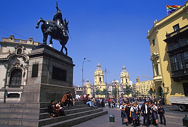 The statue of Francisco Pizarro, the Spanish conqueror of the Incas, facing toward the Cathedral just off the Plaza de Armas, Colonial Architecture, Lima, Peru