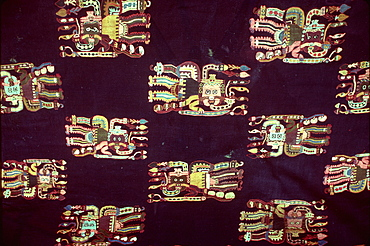 Paracas Culture, 300BC-100AD, funerary wrap with fantastic zoomorphic figures finest Pre-Columbian textiles Archaeology Museum, Lima, Peru