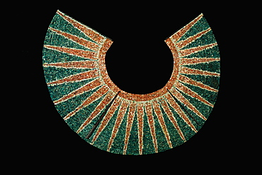 Gold Artifacts Moche (Mochica) Culture, 100 to 700AD, NCoast artifact from the Lord of Sipan Tomb, c300AD radiant pectoral of colored seashell-beads, Peru