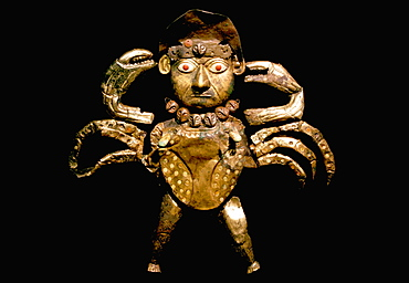 Gold Artifacts Moche (Mochica) Culture, 100 to 700AD, NCoast 'crab man' from Old Lord of Sipan Tomb, 200AD, gilded copper figure of divinity of the sea, Peru