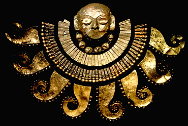 Gold Artifacts Moche (Mochica) Culture, 100 to 700AD, NCoast funeral mask from the Old Lord of Sipan Tomb, 200AD, with gilded pectoral of Octopus arms, Peru