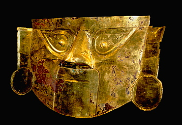 Gold Artifacts Chimu-Lambayeque Culture, 1100 to 1400AD, from the Lambayeque Valley on north coast a Funeral Mask created in one piece of gold, Peru