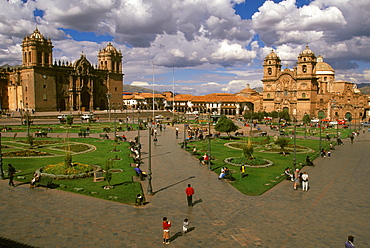 Ancient capital of the Incas the colonial center and the Plaza de Armas with the Cathedral and La Compania Church, Cuzco, Highlands, Peru