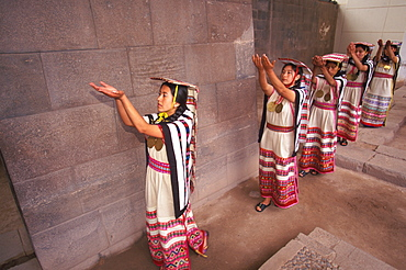 Coricancha or Inca Sun Temple within the walls of Santo Domingo Churchreenactment of Inca ceremony with mamaconas (chosen women), Cuzco, Peru