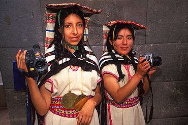 Coricancha or Inca Sun Temple within the walls of Santo Domingo Church reenactment of Inca ceremony with mamaconas (chosen women), Cuzco, Peru