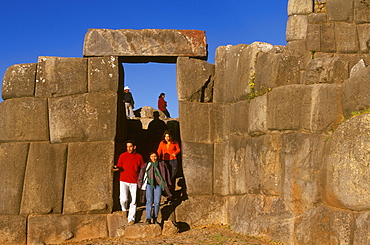 Sacsayhuaman huge hilltop, Inca fortress built in the 15thC above Cuzco with zigzag battlements constructed of immense stones, Highlands, Peru