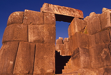 Sacsayhuaman huge, hilltop, Inca fortress built in the 15thC outside Cuzco with zigzag battlements constructed of immense stones, Highlands, Peru