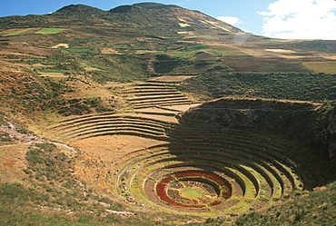 Circular agricultural terraces at Moray near Cuzco where the Incas experimented with plants from different parts of their empire, Highlands, Peru