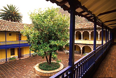 In the Sacred Valley of the Incas the Colonial Hacienda at Yucay, now a hotel with a beautiful courtyard, Cuzco area, Highlands, Peru