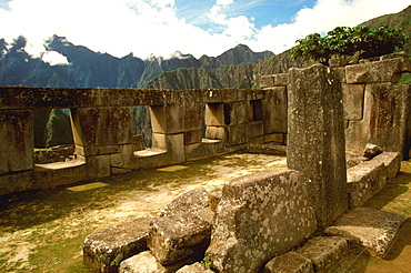 Machu Picchu the ancient city with the Temple of the Three Windows in the Sacred Precinct, Highlands, Peru