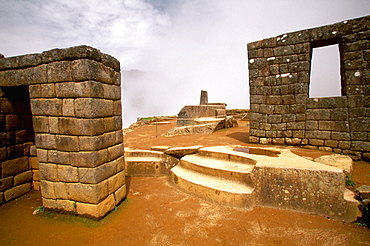 Machu Picchu the Intihuatana, site's most sacred shrine and was used to tell the time of year, Highlands, Peru