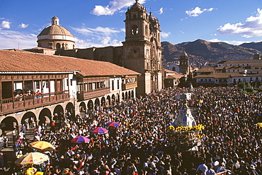 Corpus Christi is one of Peru's most famous festivals with thousands parading Santos in processions around 's Plaza de Armas, Cuzco, Peru