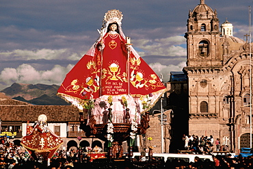 Corpus Christi Festival in Cuzco, with the famous processions around Plaza de Armas carrying santos, Peru