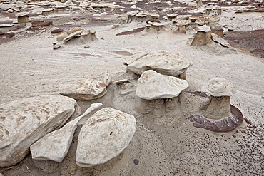 Small mushroom formations in the badlands, Bisti Wilderness, New Mexico, United States of America, North America