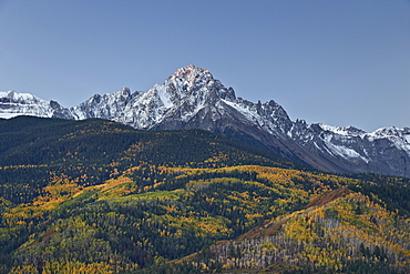 Mount Sneffels at first light with a dusting of snow in the fall, Uncompahgre National Forest, Colorado, United States of America, North America