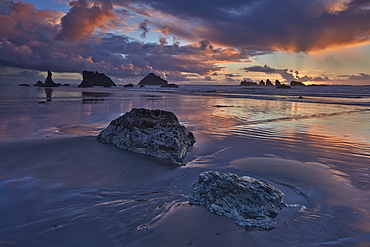 Rocks, sea stacks, and clouds at sunset, Bandon Beach, Oregon, United States of America, North America