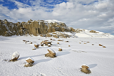 Boulders with fresh snow, Bisti Wilderness, New Mexico, United States of America, North America
