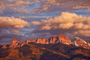 Clouds over Palisades at sunset, Uncompahgre National Forest, Colorado, United States of America, North America