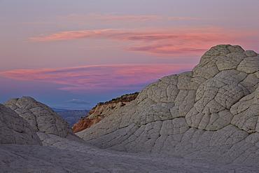 Brain Rock at sunset, White Pocket, Vermilion Cliffs National Monument, Arizona, United States of America, North America