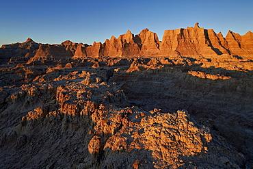 Badlands at first light, Badlands National Park, South Dakota, United States of America, North America