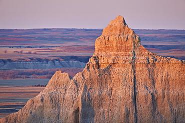 Badlands at dawn, Badlands National Park, South Dakota, United States of America, North America