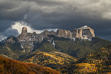 Courthouse Mountain from Owl Creek Pass in the fall, Uncompahgre National Forest, Colorado, United States of America, North America