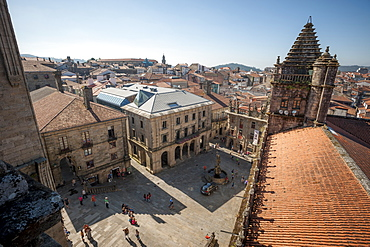 View from the roof of the Cathedral of Santiago de Compostela, UNESCO World Heritage Site, Santiago de Compostela, A Coruna, Galicia, Spain, Europe