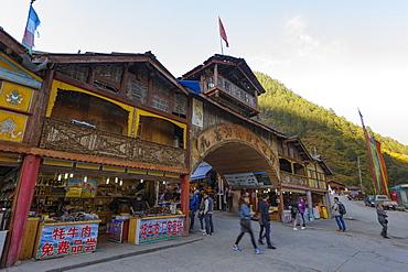 Tibetan Village, Jiuzhaigou (Nine Village Valley), Sichuan province, China, Asia