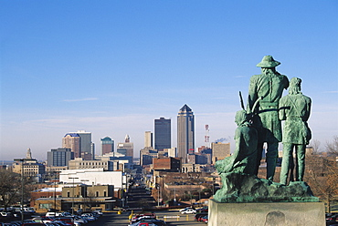 View of Downtown from State Capitol, Des Moines, Iowa, United States of America, North America