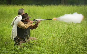 Black Jack Battlefield, Civil War Re-enactment, near Baldwin City, Kansas, United States of America, North America