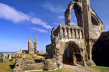 West gable in foreground with the great East window in background, St. Andrews cathedral dating from the 14th century, St. Andrews, Fife, Scotland, United Kingdom, Europe